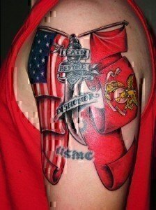 beautiful American Flag Tattoo