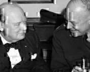 patton having a drink with winston churchhill
