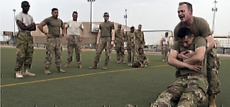 a few soldiers working
