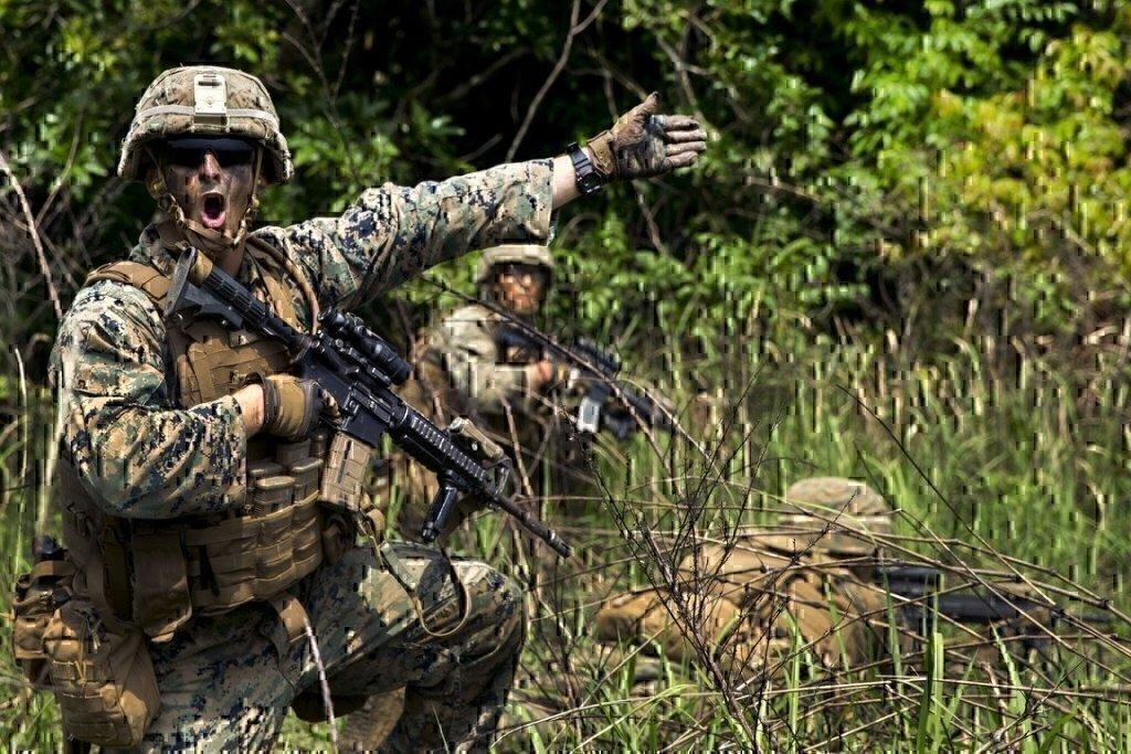 soldier pointing and yelling