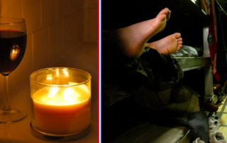 Photo shows a candle and a pair of feet