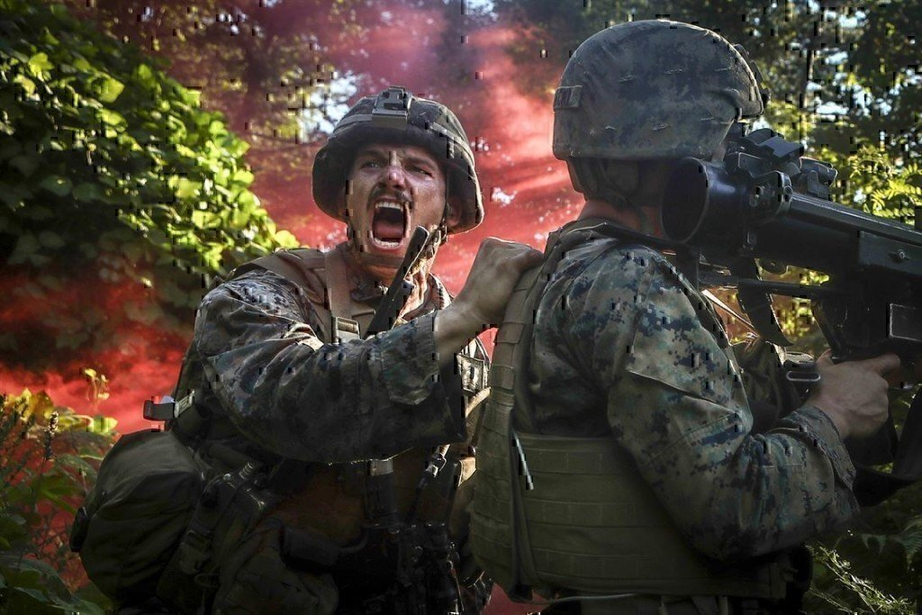 soldier screaming for help during a drill