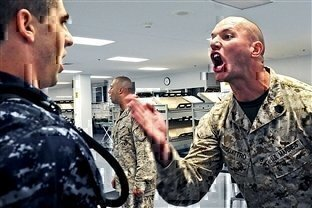 drill instructor screaming at a recruit