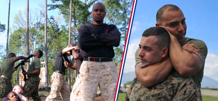 collage of marines training in martial arts