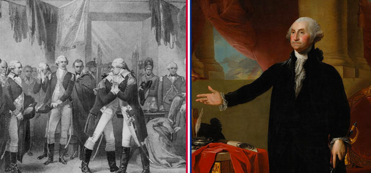 george washington celebrates the signing of the constitution with his men