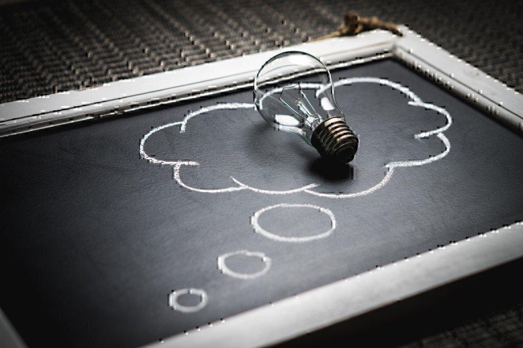 blackboard with a lightbulb