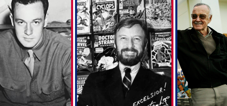 a collage shows stan lee throughout his life