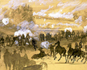 a painting of a civil war battle