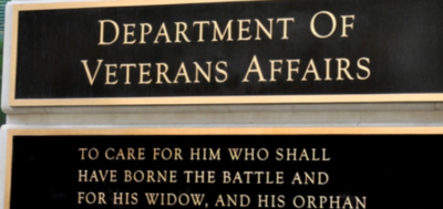 a plaque with the veterans affairs slogan on it