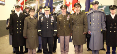 Soldiers model the new pinks and greens uniform for the army