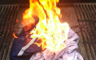 a pile of clothes burning