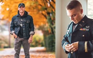two pictures of an army veteran one in uniform and one wearing civilian clothing