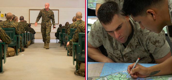 one picture of a marine commander speaking to a group and the other picture of two marines leaving land navigation