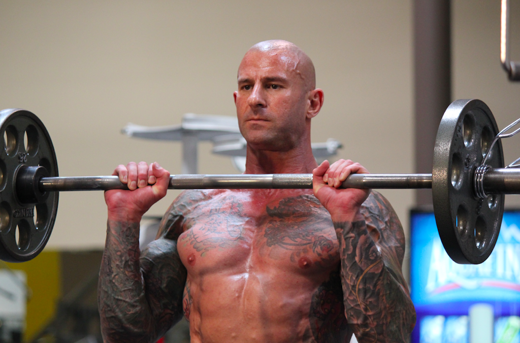Jim Stoppani works out on a bar bell