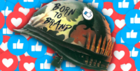 a camouflage army helmet with the words Born to Brand on the side