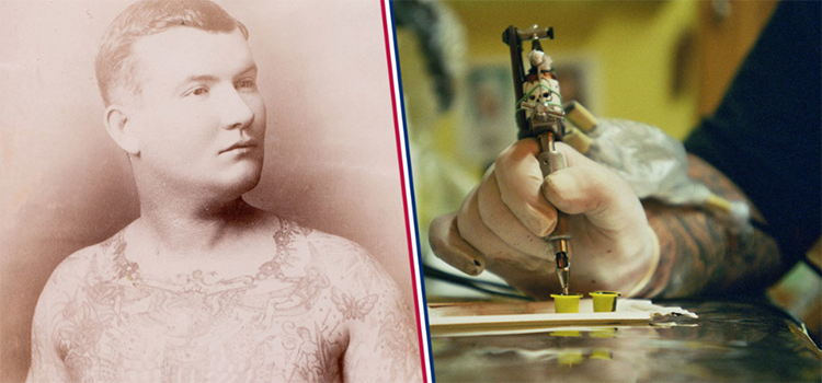 left picture of an old navy sailor with tattoos and right picture a tattoo machine