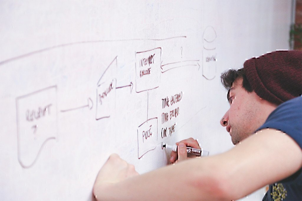 a man writing notes on a white board