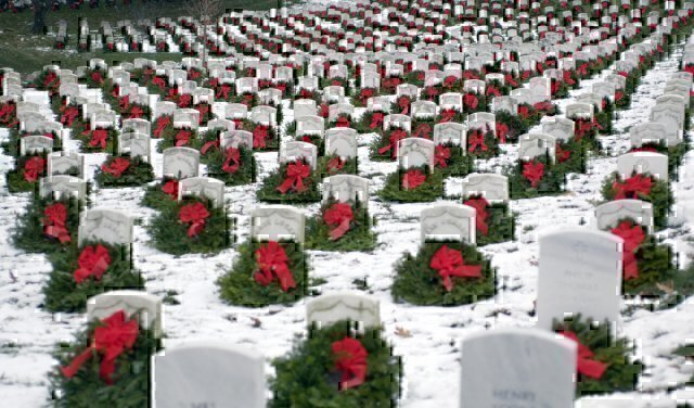 Wreaths sit atop graves at Arlington National Cemetary