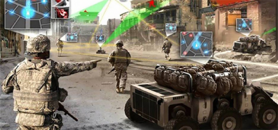 video game of soldiers on a screen with an army vehicle