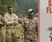 a group of british soldiers next to an army advertisement