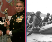 two marines in dress uniform holding a recon paddle