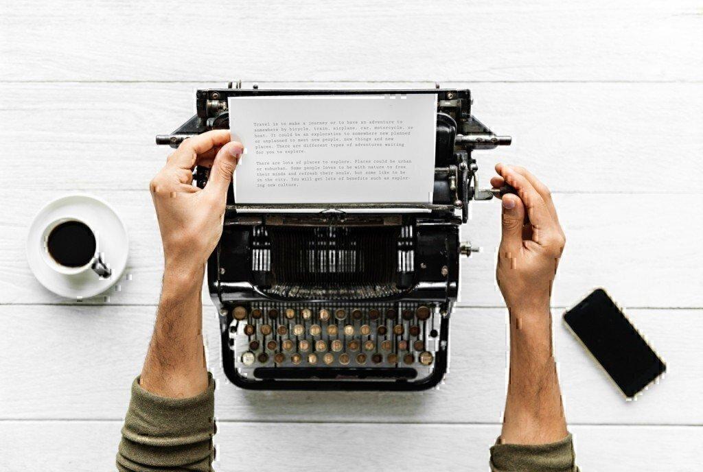 writing on a type writer