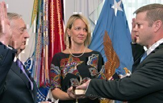 former secretary of defense james mattis swearing in army secretary of defense ryan mccarthy