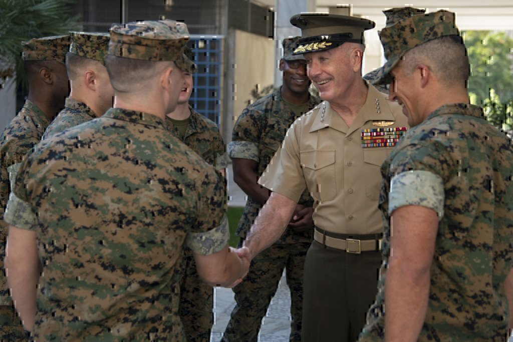 a marine officer meeting other marines