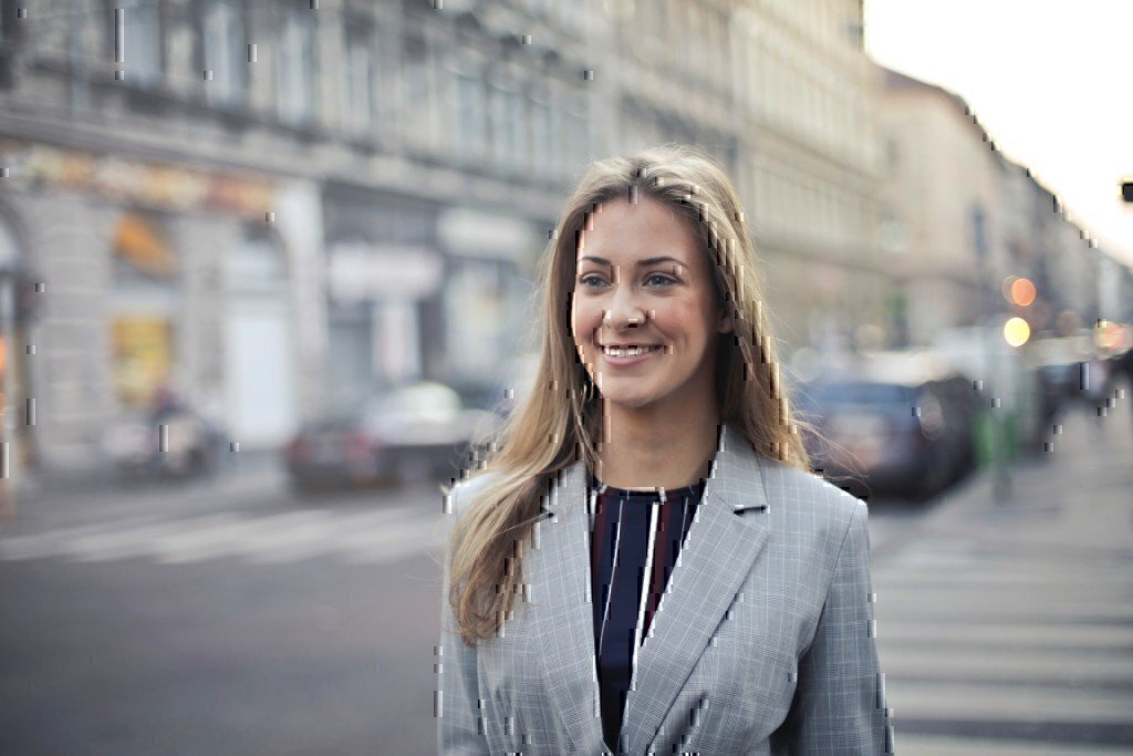 a woman in business formal attire