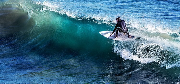 surfing on a wave