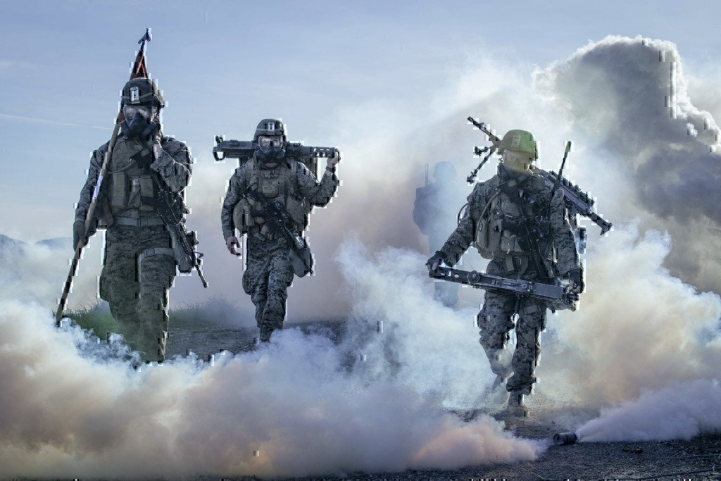 military training of marines together in smoke
