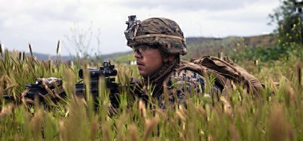 a soldier on the ground training