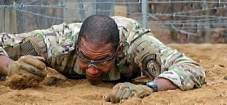 an army ranger crawling