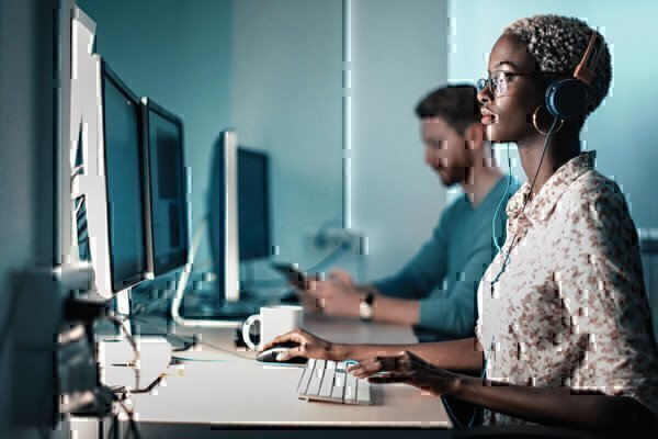 software systems developer working on a compter