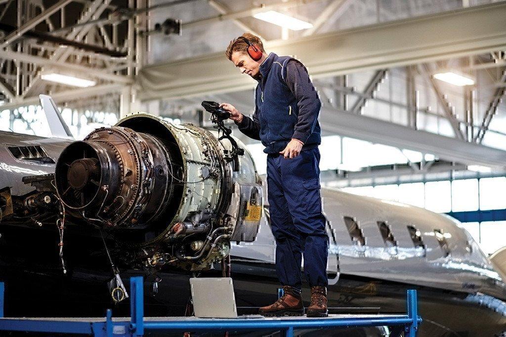 aircraft aviation technician at work