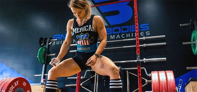 a girl about to deadlift