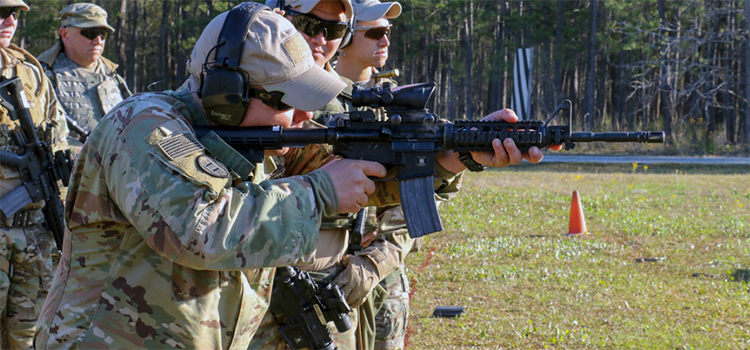 a soldier shooting at the range