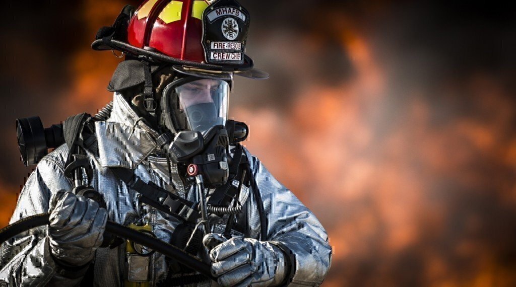 a firefighter with breathing equipment on