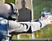 pistol shooting on the range