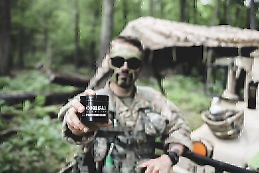 soldier holding pomade