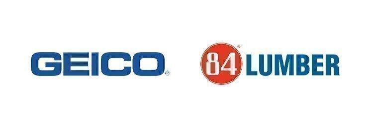 GEICO and 84 Lumber logos